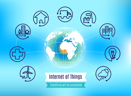 Vector : Infographic about Internet of Things with globe on blue abstract background, Technology concept.