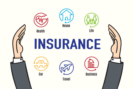 Illustration for Vector : Hand protect Insurance feature icon,Insurance business concept. - Royalty Free Image