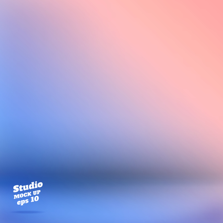 Ilustración de Vector,Empty studio room background with pink and blue Material design gradient style color ,Template mock up for display of product,Business backdrop - Imagen libre de derechos