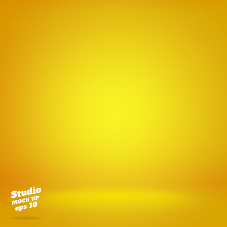 Vector,Empty vivid lighting yellow studio room background ,Template mock up for display or montage of product,Business backdrop.