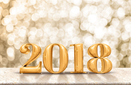 Photo pour Happy New Year 2018 gold glossy on marble table with sparkling gold bokeh wall,Holiday celebration concept. - image libre de droit