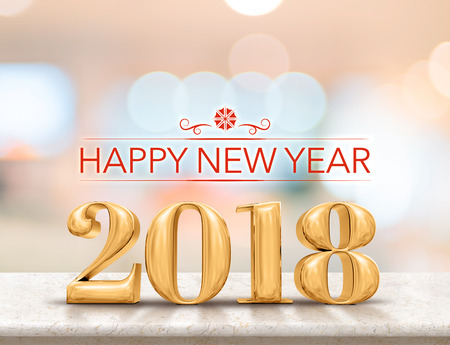 Photo pour Happy new year 2018 (3d rendering) golden color new year on glossy marble table top with blur abstract bokeh background,Holiday greeting card - image libre de droit