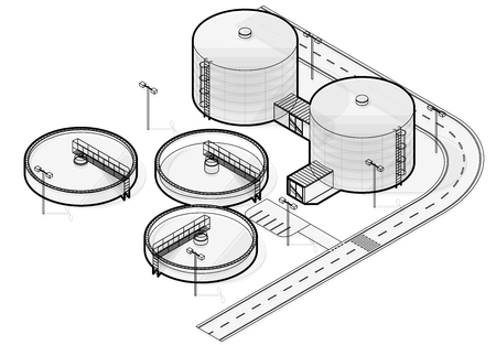 Illustration pour Water treatment isometric building info graphic, big wire bacterium purifier factory on white background. Scientific illustration. Industrial Chemistry cleaner set. Flatten isolated master vector. - image libre de droit
