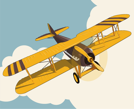 Illustration for Yellow plane flying over the sky with clouds in vintage color stylization. Old retro biplane designed for poster printing. Vector low poly airplane illustration. Banner layout. Model aircraft, two wings. - Royalty Free Image