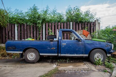 Photo for Blue old pickup truck out in the country - Royalty Free Image