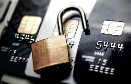 credit card data security breach  data decryption on credit card concept