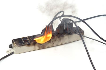 Photo pour Surge protector caught on fire due to overheat - image libre de droit