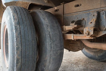 Worn out truck tire tread / Danger of using old tire with low tread depth concept