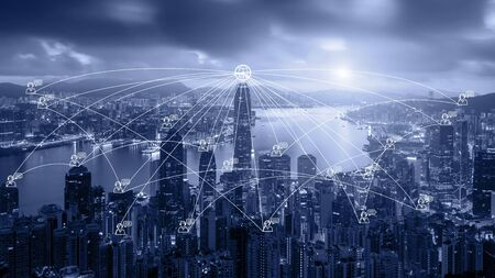 Photo pour Network business connection system on Hong Kong smart city scape in background. Network business connection concept - image libre de droit