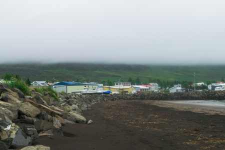 Dalvik, Iceland. Circa July 2017. View of the town of Dalvik, Iceland, from its black sand beach.