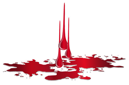 Vector puddle of blood with drops isolated on white background. Red plash of blood