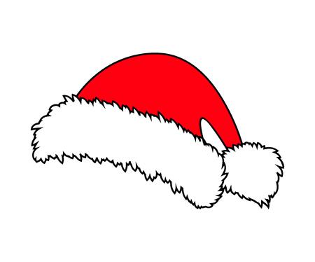 Santa hat, Christmas cap icon, symbol, design. Winter vector illustration isolated on white background.
