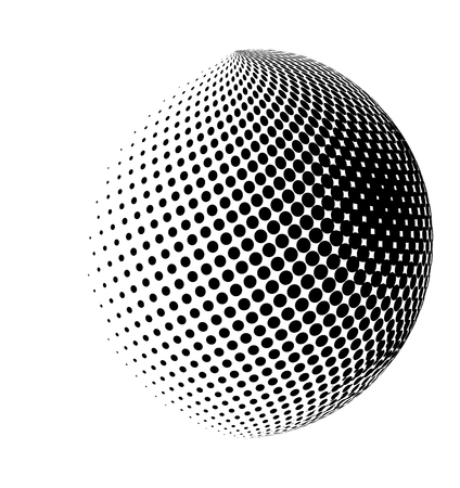 halftone globe, sphere vector logo symbol, icon, design. abstract dotted globe illustration isolated on white background.;