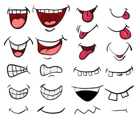 Ilustración de cartoon mouth set vector symbol icon design. Beautiful illustration isolated on white background - Imagen libre de derechos