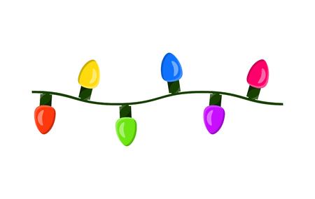 Ilustración de light bulb, garland string christmas design isolated on white background  - Imagen libre de derechos