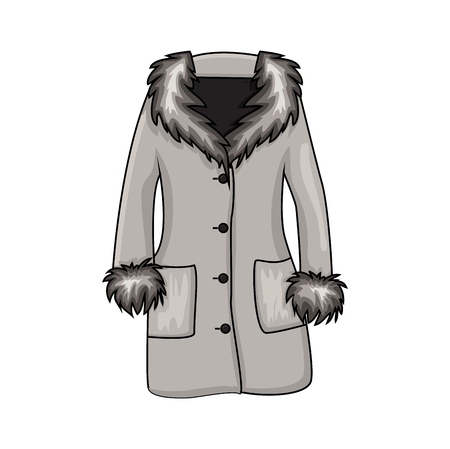 Illustration for Cartoon fur winter coat isolated on white background  - Royalty Free Image