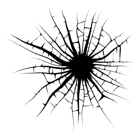 Illustration for broken window, cracks hole vector design isolated on white background - Royalty Free Image