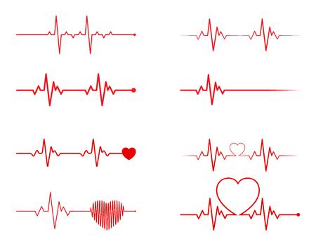 Ilustración de heart rhythm set, Electrocardiogram, ECG - EKG signal, Heart Beat pulse line concept design isolated on white background - Imagen libre de derechos