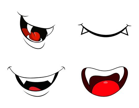 Illustration for vampire mouth fang smile set  isolated on white background - Royalty Free Image