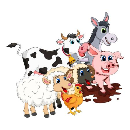 Illustration pour Farm animal group. Cow, pig, ram, donkey,sheep,hen  design isolated on white background. Cute cartoon animals collection Vector illustration - image libre de droit