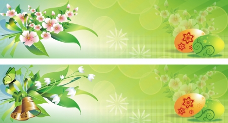 Green Spring Easter Banners with Eggs and Floral Elements. Two Easter Banners to Choose From.