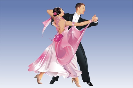 Classic Dancers. Tango Dance. Dancing Competition. This is Raster Illustration not a Vector File. Blue Background