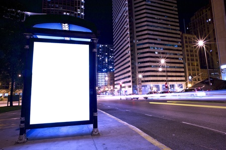 Bus Stop Ad Display - Backlite Advertising Display on the Bus Stop in Downtown Chicago.