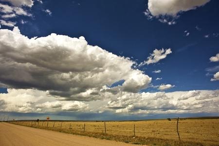 USA West Plains. Colorado-Kansas Border. Hot Summer Day. Horizontal Photo.