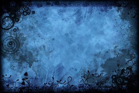 Foto de Vintage Floral Blue Background Design. Black-Blue Old Grunge-Vintage Background. - Imagen libre de derechos