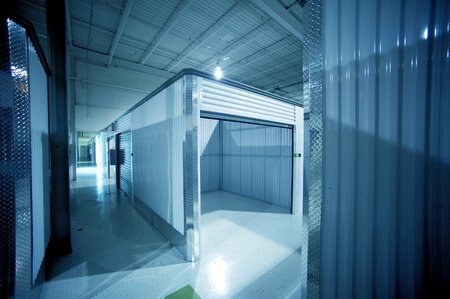 Open Storage Unit. Climate Controlled Modern Storage Warehouse - Storage Facility Interior. Unit for Rent-Lease. Business Photo Collection