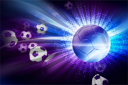 Euro Football / Soccer Theme. 3D Generated Soccer Theme with Soccer Balls. European Football