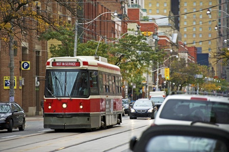 Tram Streetcar System Toronto, Canada. The Toronto Streetcar System Comprises Eleven Streetcar Routes in Toronto, Ontario. Not In Service Tram. Toronto Streets