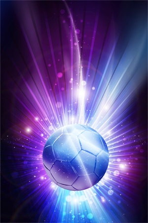 Soccer All Stars - Cool Glowing Stars Soccer Theme Background  Mysterious Purple-Pinky Colors and Soccer Ball in the Center of Shine   Rays  Vertical Design