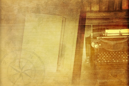 Vintage Writer Background with Old Typewriter Machine, Empty Album, Books and Compass Rose. Sepia Colors.