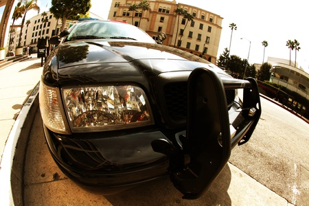 Photo for American Police Cruiser - Beverly Hills, California Police Cruiser. Law Enforcement Vehicle. Fisheye Photo. - Royalty Free Image