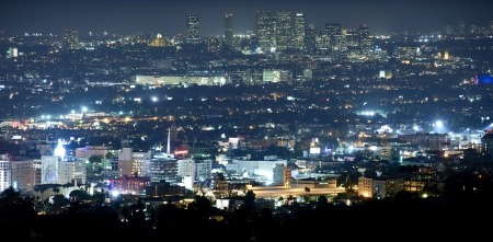 Beverly Hills at Night - Panoramic Night Time Photography. Hollywood and Beverly Hills, California, USA.