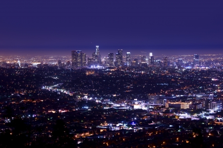 Los Angeles Night Skyline Aerial Photography. Los Angeles, California. California Photo Collection