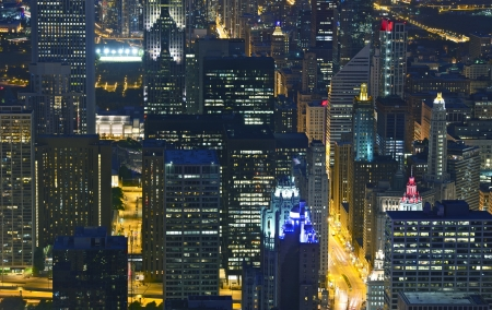 Night Life Chicago Skyline. Night Scenery from Bird Eye View. Chicago Cityscape. Illinois U