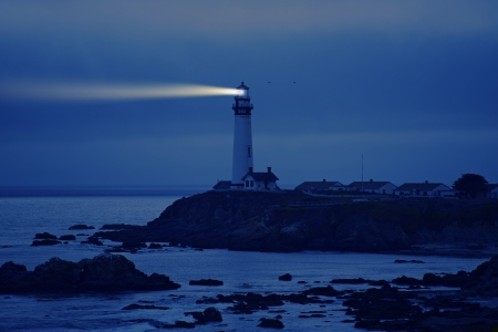 Lighthouse in California. Pigeon Point Lighthouse, CA, USA.  Pacific Ocean Cost Landscape. Lighthouse at Night.