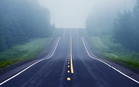 Foggy Road Ahead. Road Through Minnesota Wilderness.