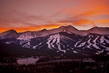 Colorado Sunset. Breckenridge Ski Slopes at Sunset. Colorado Mountains Landscape.