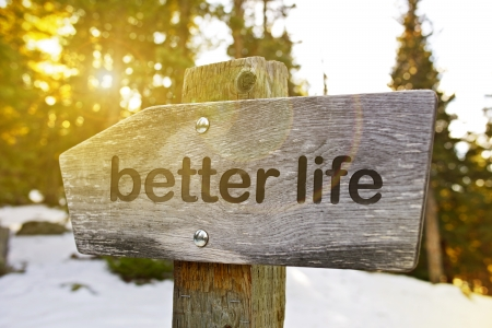 Better Life Trail. Best Way to Better Life. Wood Mountain Sign.