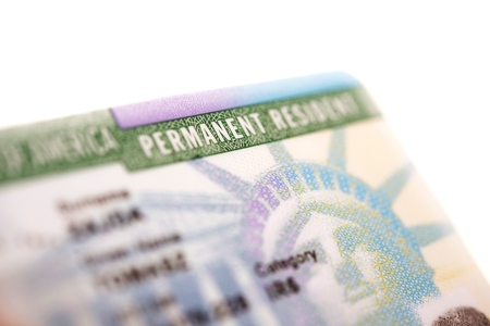 American Green Card - United States Permanent Residency Card Closeup.