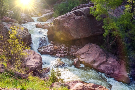 Mountain River Closeup. South Boulder Creek River. Colorado, United States.