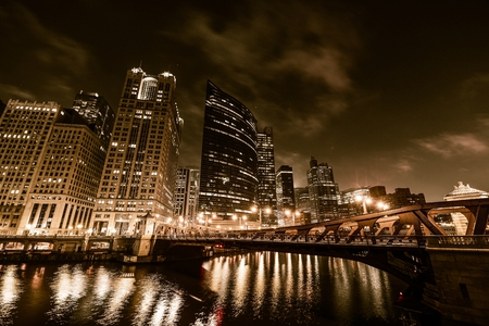 Chicago Night In Sepia
