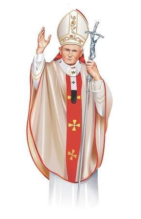 Pope Saint John Paul II Illustration Isolated on White. Pope Saint John Paul II 18 May 1920 - 2 April 2005.