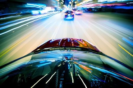 Nightly City Traffic Motion Blurs  Colorful Urban Illumination in Motion Blur  City Streets Speeding Car