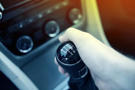 Manual Transmission Drive. Hand on Manual Transmission Car Stick. Six Speed Driving.