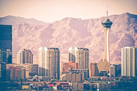 Vintage Las Vegas Skyline. Las Vegas Strip From Distance. Vintage Color Grading. Nevada, United States.