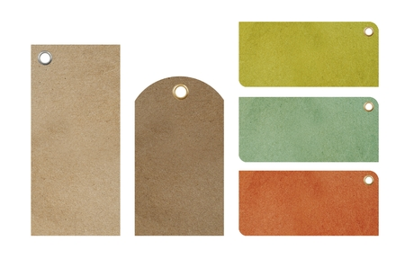 Paper Blank Price Tags Isolated. Five Blank Colorful Tags To Choose From.